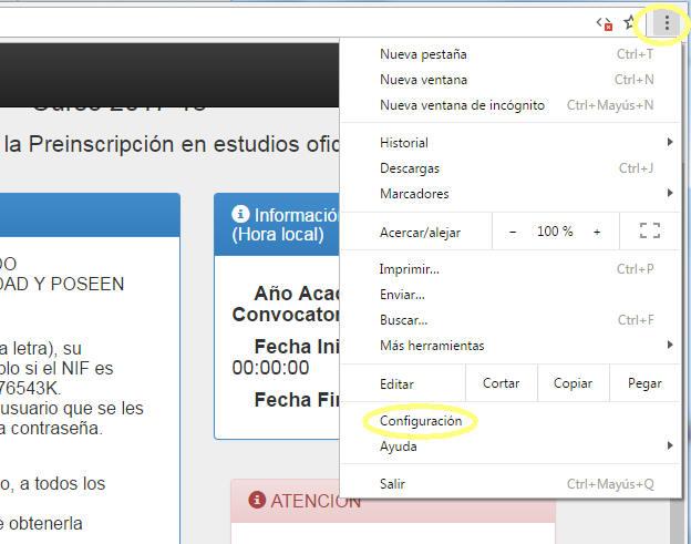 """En el navegador web, haz click en el menú """"Personaliza y controla Google Chrome"""" y luego selecciona """"Configuración""""."""