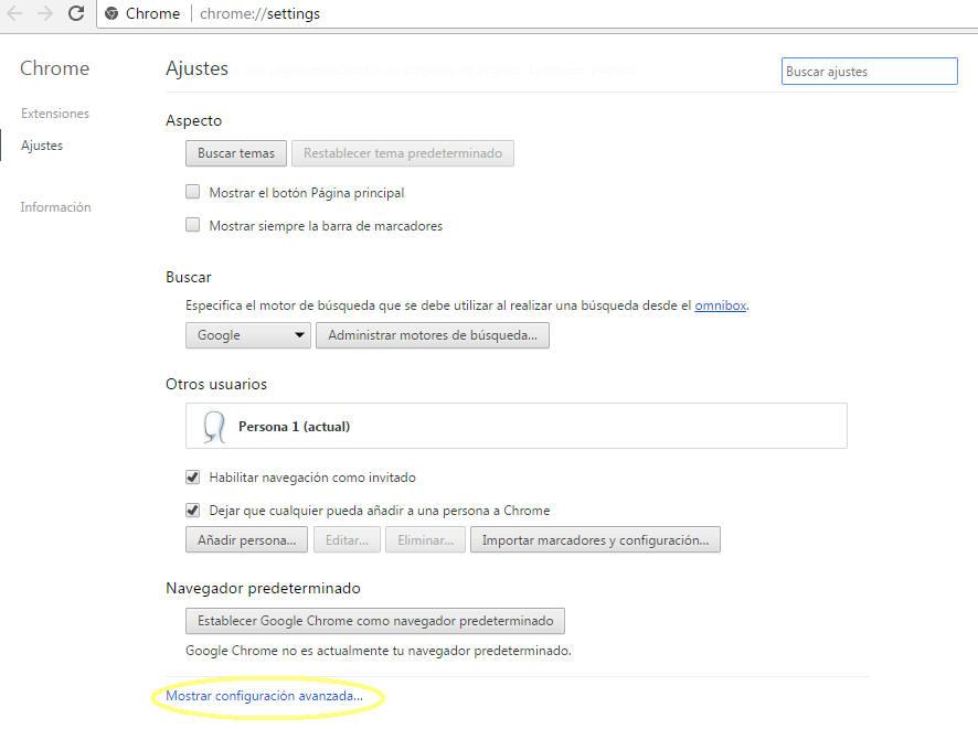 """En la sección """"Configuración"""" haz click en la opción """"Mostrar configuración avanzada…"""""""