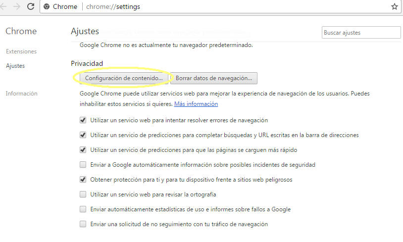 """Bajo la sección """"Privacidad"""" haz click en la opción """"Configuración de Contenido...""""."""