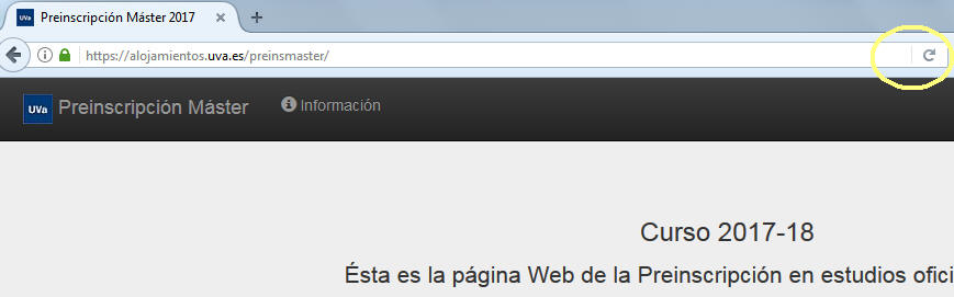 """Haz click en el botón """"Recargar esta página"""" del navegador web para refrescar la página."""